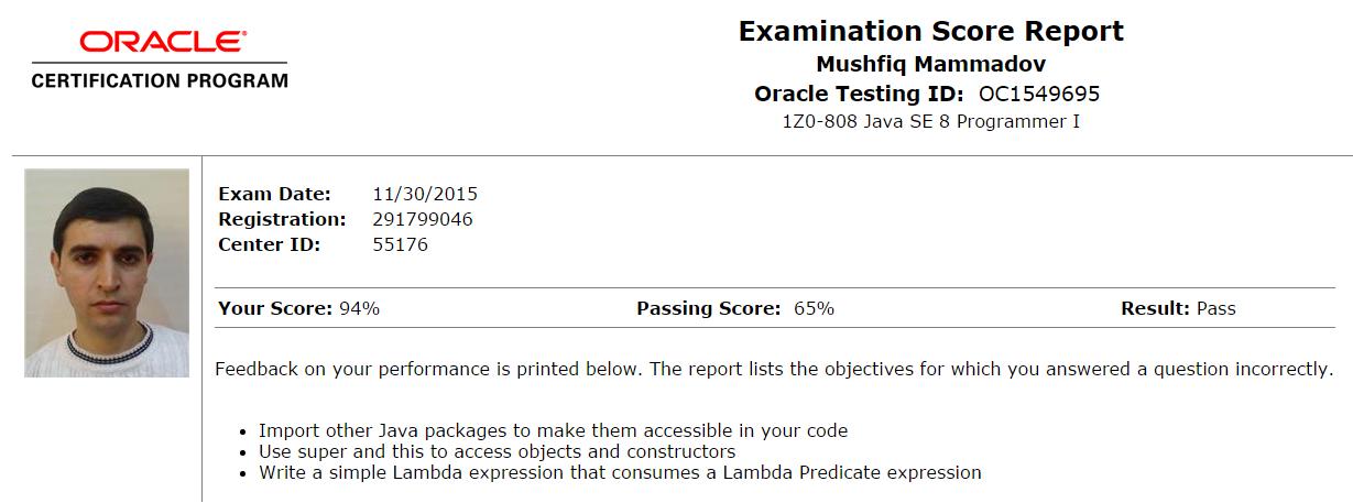 actual-exam-result-in-certview-1z0-808-java-se-8-programmer