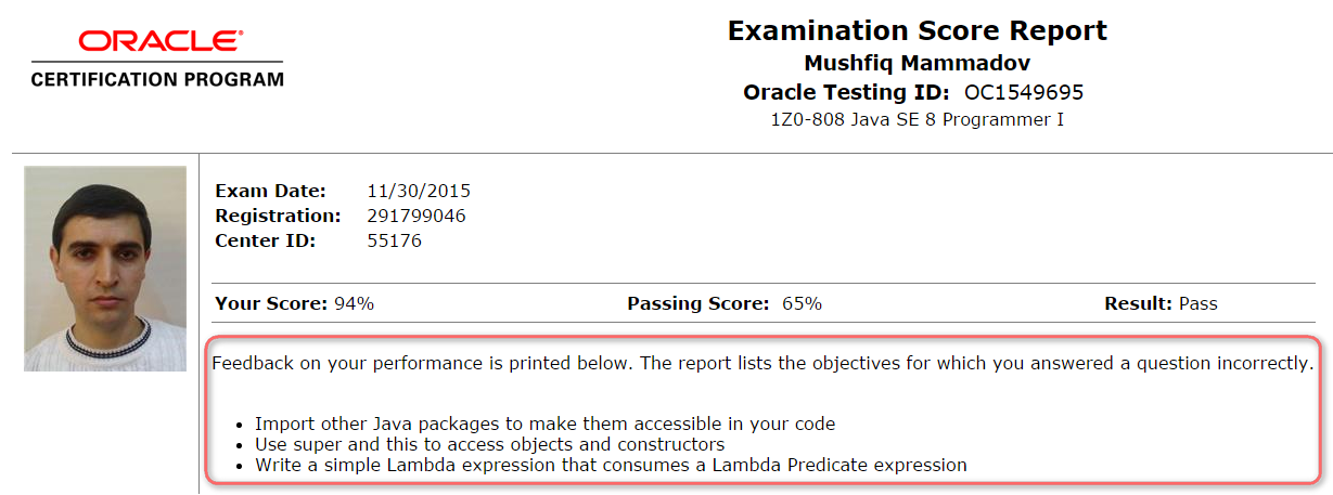 Passed Oca Java Se 8 Exam With 94 My Experience With In Detail