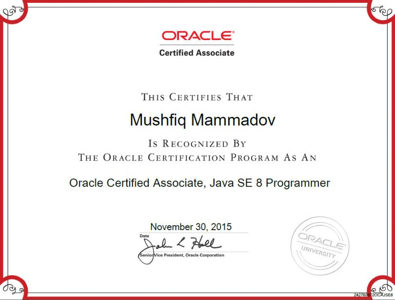 Java OCA certification
