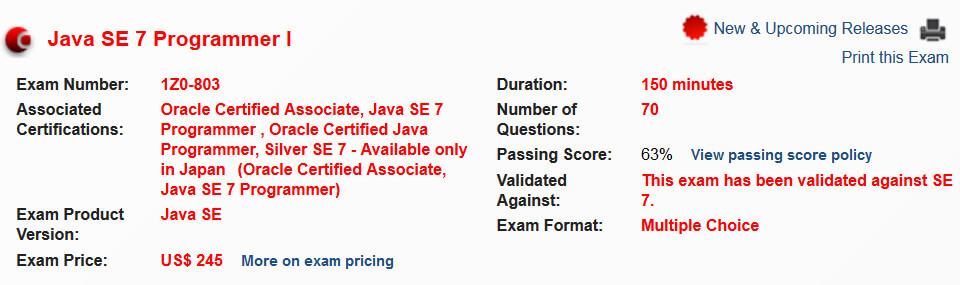 1Z0-803 exam details