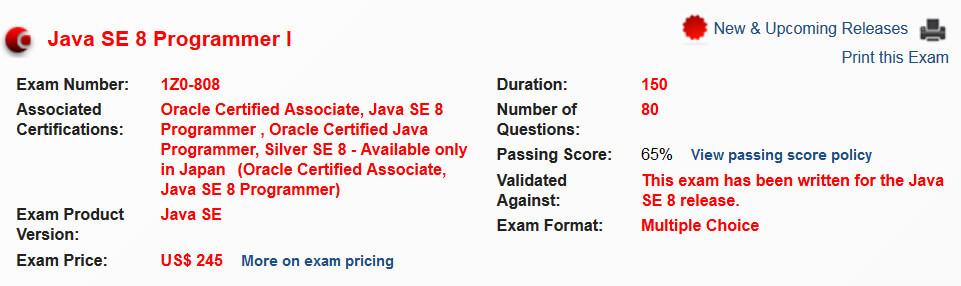 1Z0-808 exam details