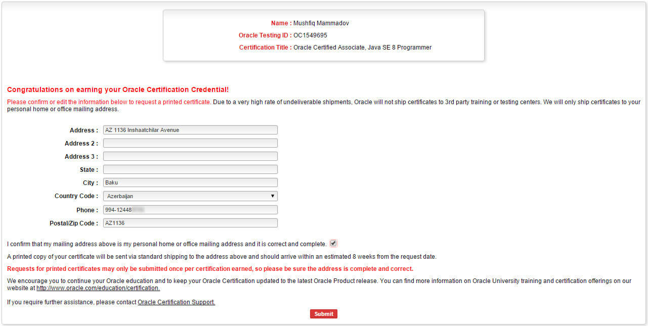 certview - request form for printed version of certification