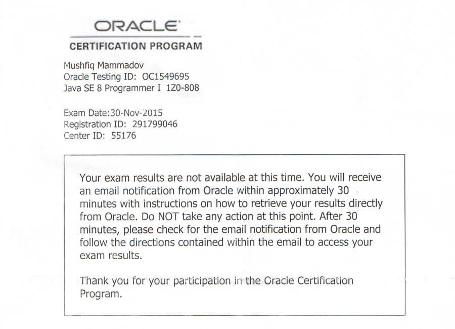 Step 7 Learn Exam Result Java Certification Notes