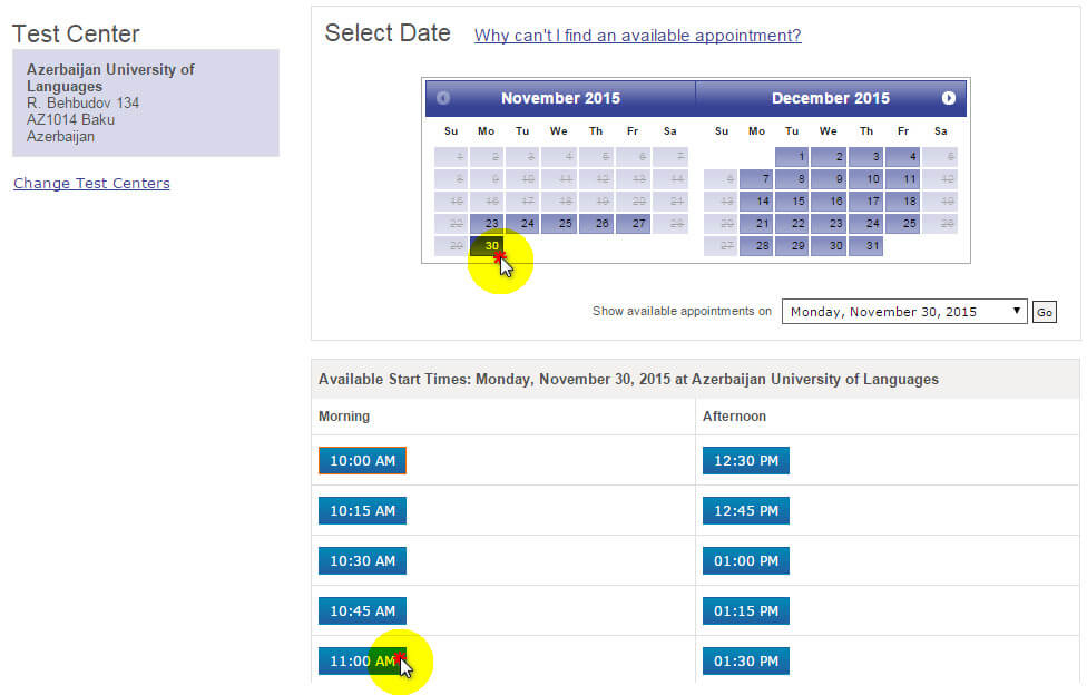 pearson vue select date